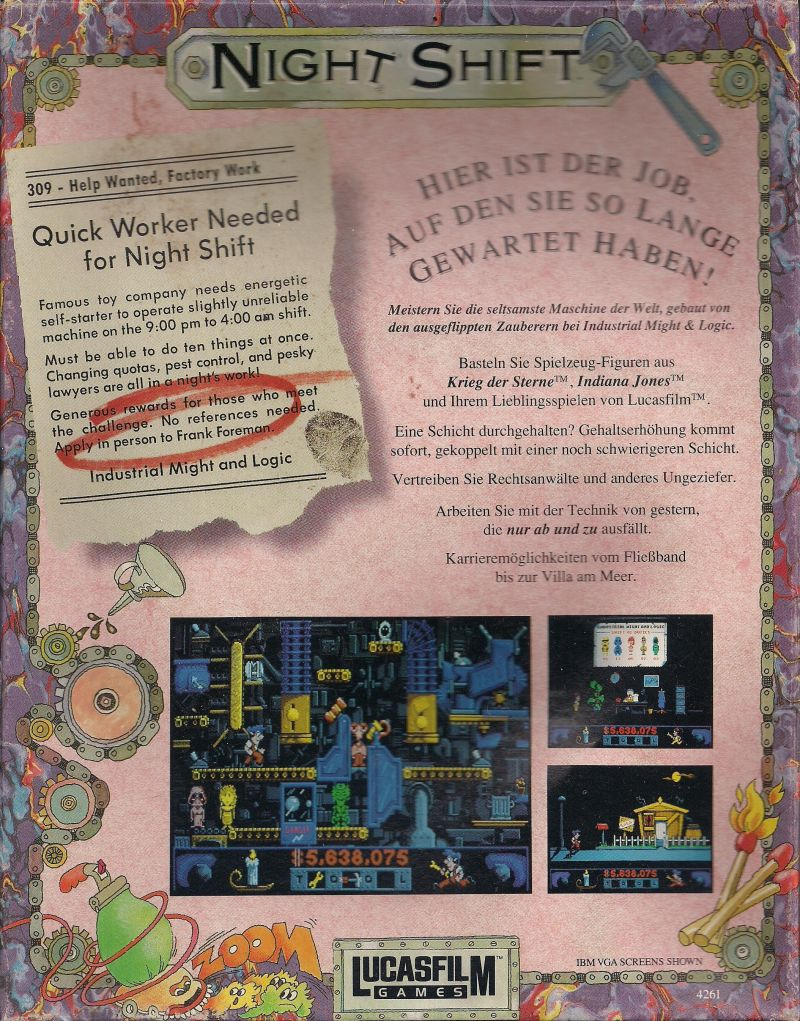 Night Shift Amiga Back Cover