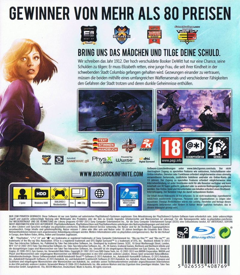 BioShock Infinite PlayStation 3 Back Cover
