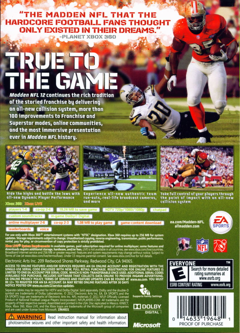 Madden NFL 12 Xbox 360 Back Cover