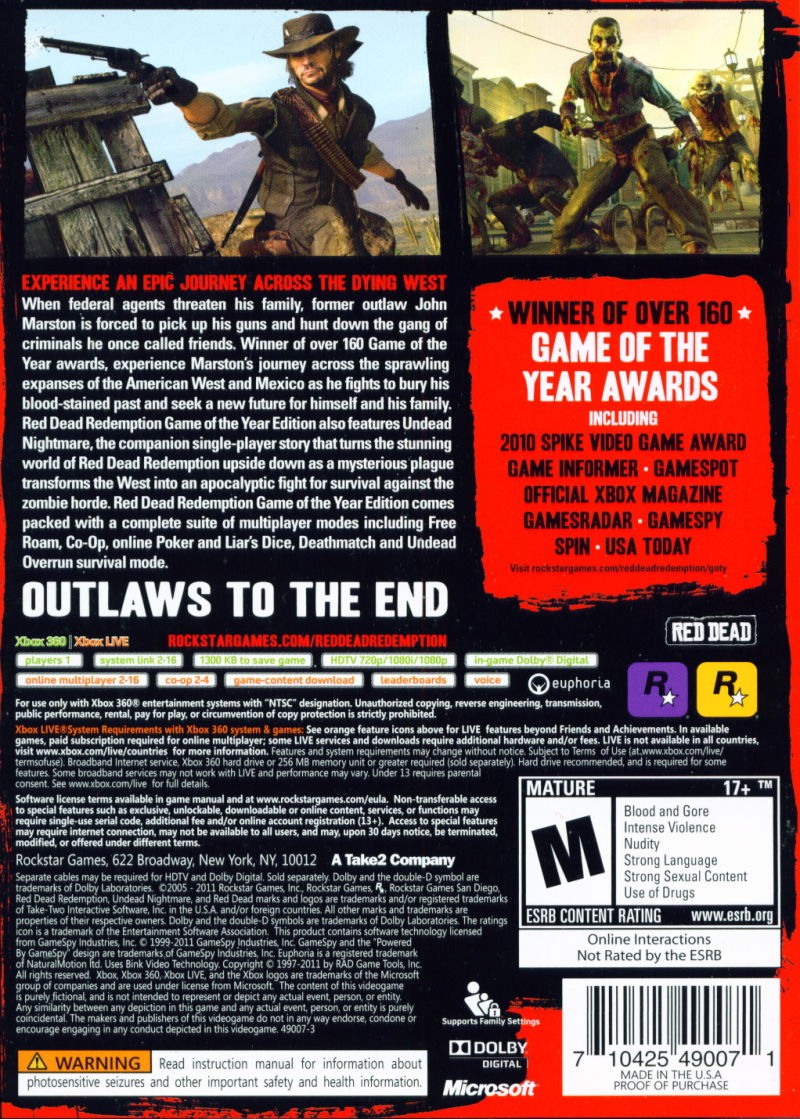 Red Dead Redemption: Game of the Year Edition Xbox 360 Back Cover