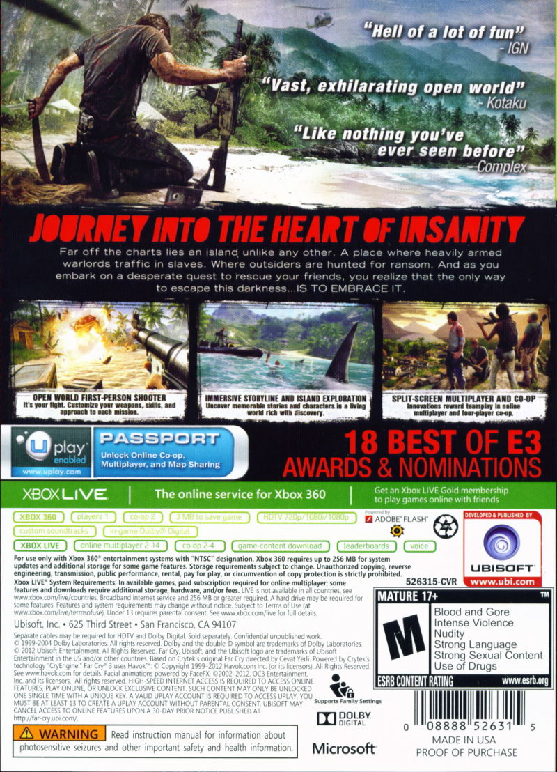 Xbox 360 Game Cover Back Far Cry 3 (2012) Xbox ...