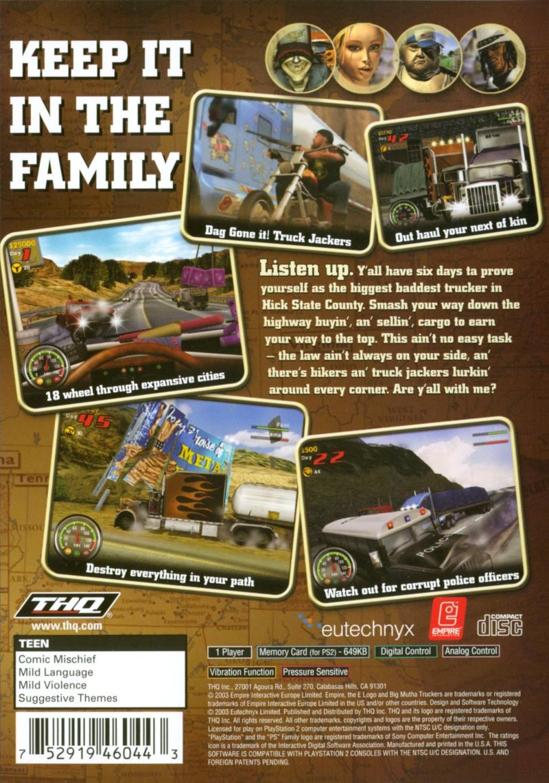 Big Mutha Truckers PlayStation 2 Back Cover