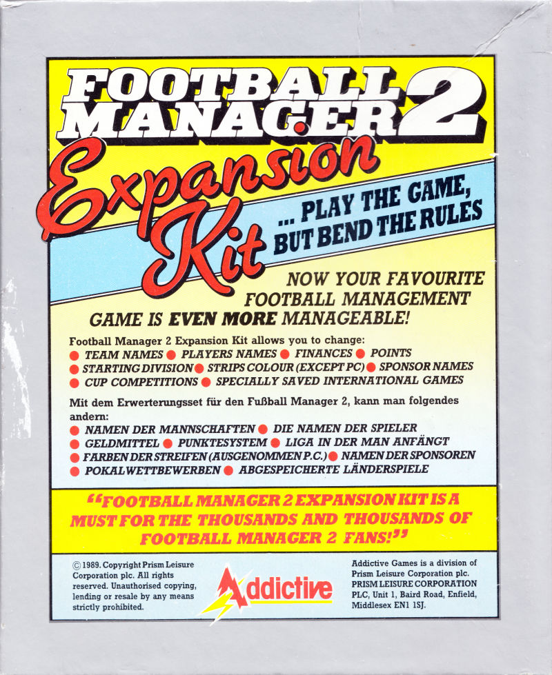 Football Manager II: Expansion Kit Atari ST Back Cover