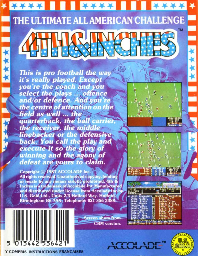 4th & Inches Commodore 64 Back Cover