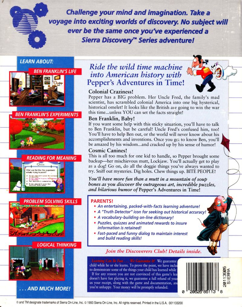 Pepper's Adventures in Time DOS Back Cover