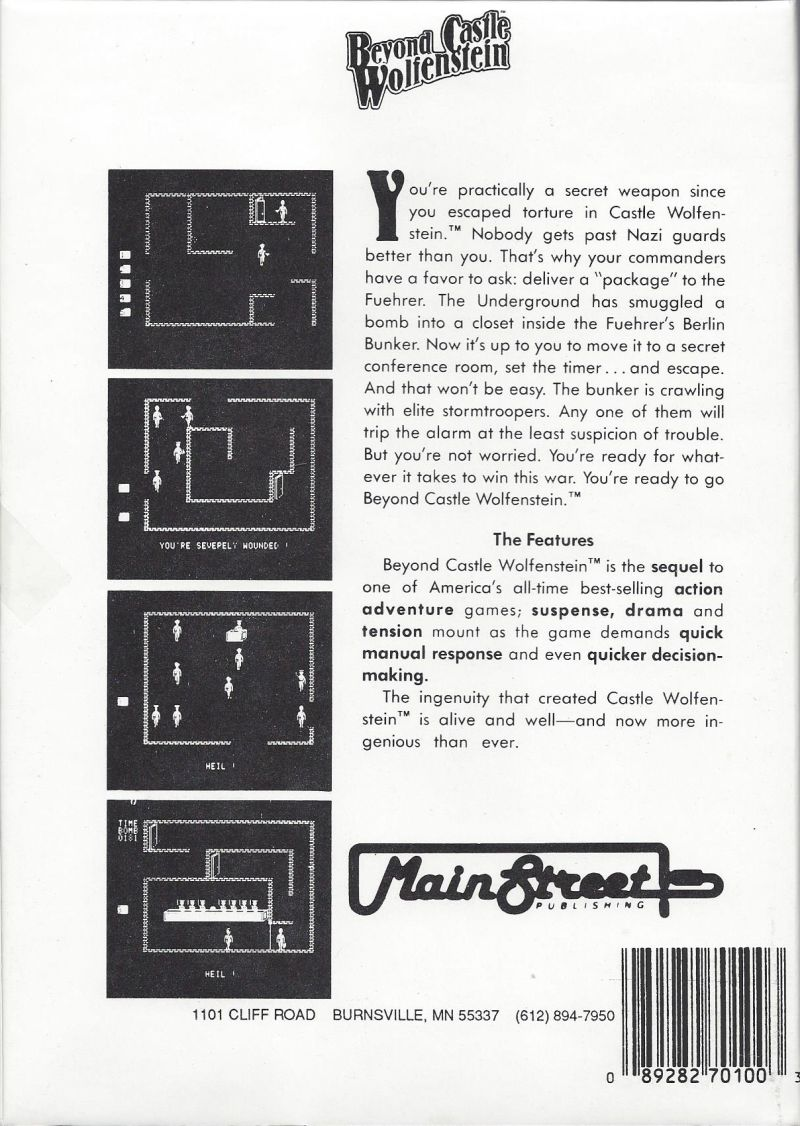 Beyond Castle Wolfenstein PC Booter Back Cover