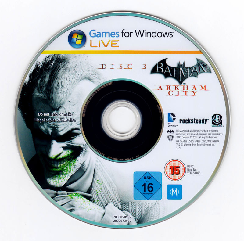 Batman: Arkham City - Game of the Year Edition Windows Media Disc 3