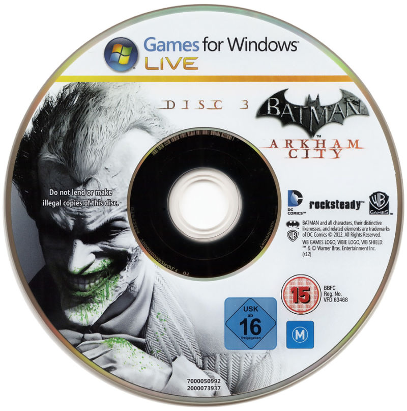 Batman: Arkham City - Game of the Year Edition Windows Media Disc 3/3