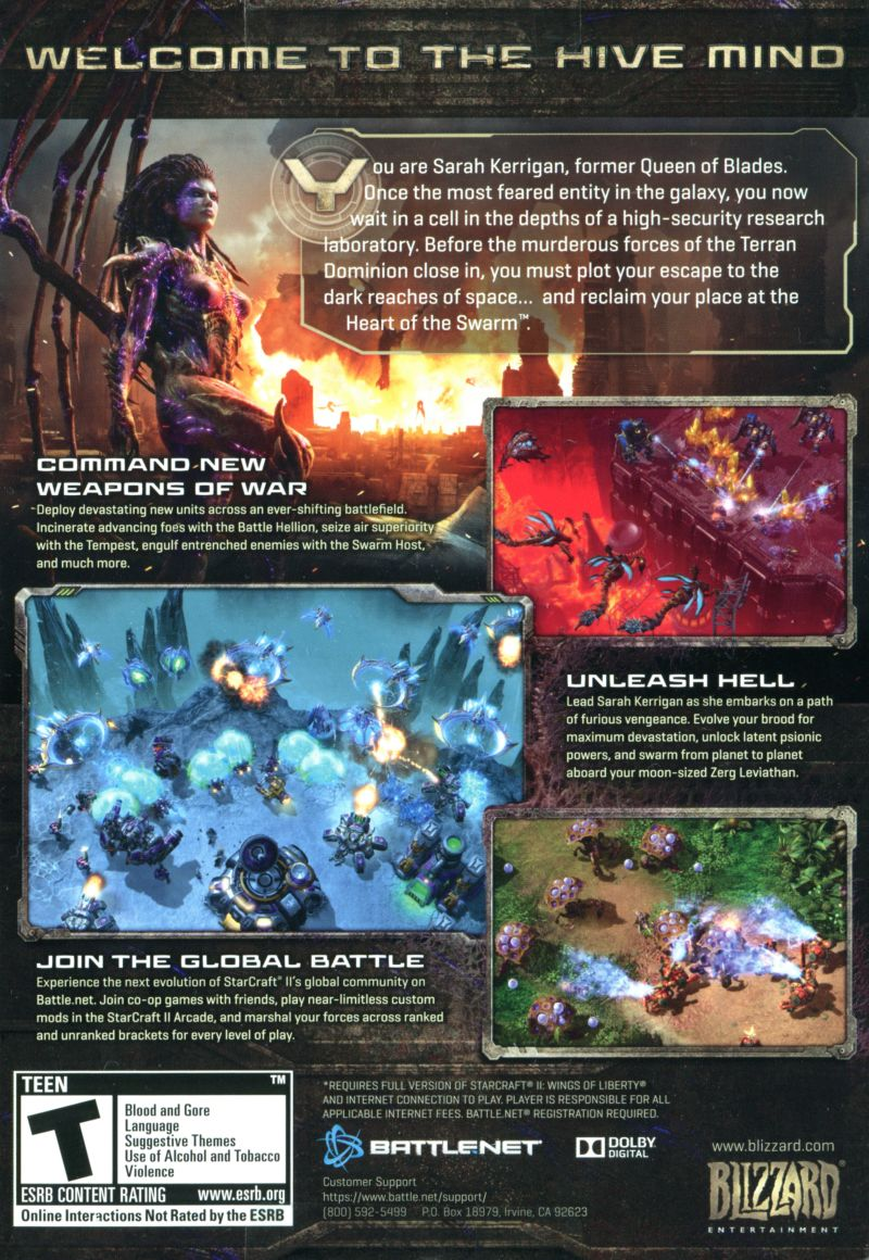 StarCraft II: Heart of the Swarm Macintosh Back Cover