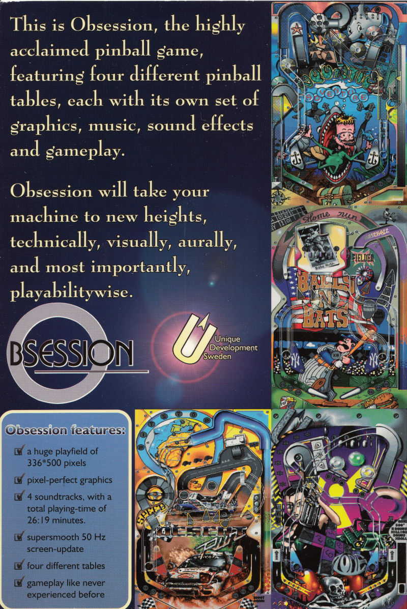 Obsession Amiga Back Cover