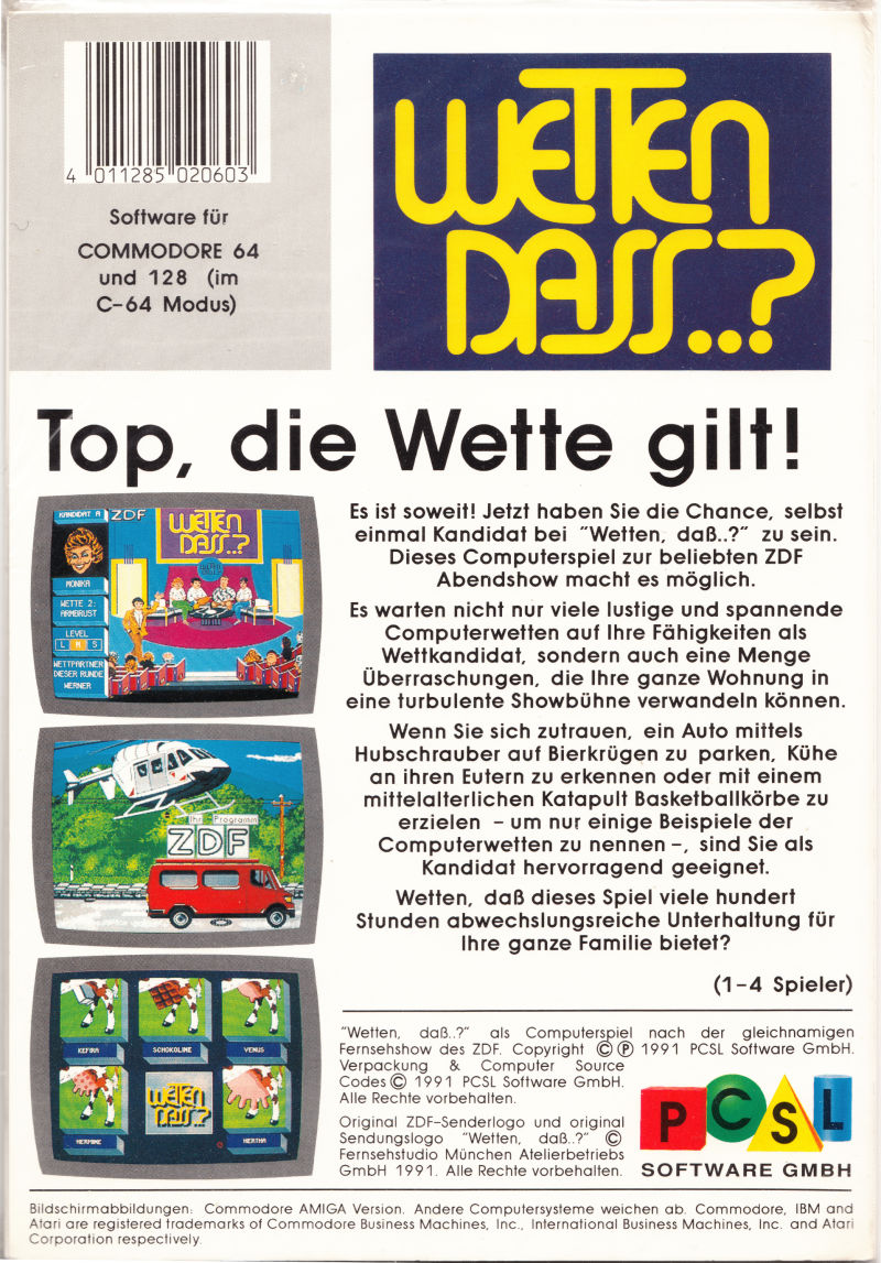 Wetten Dass..? Commodore 64 Back Cover