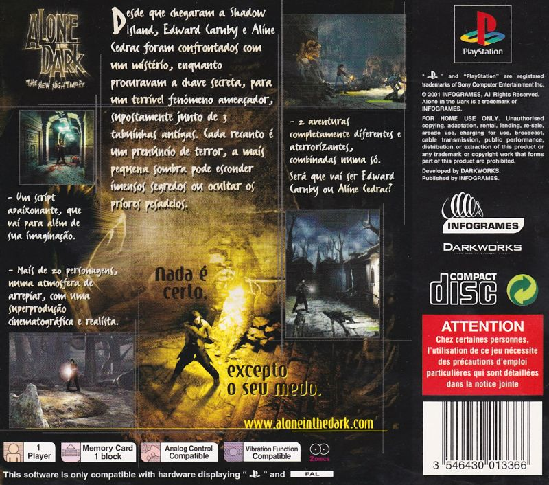 Alone In The Dark The New Nightmare 2001 Playstation Box Cover