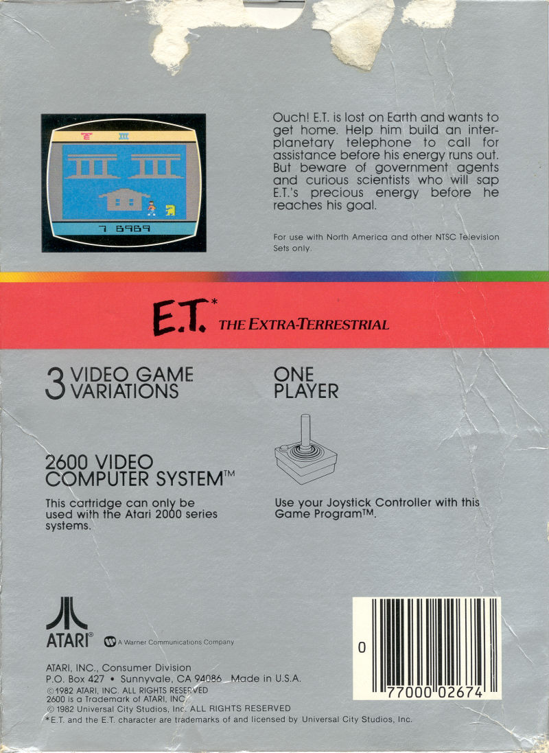 E.T. The Extra-Terrestrial Atari 2600 Back Cover