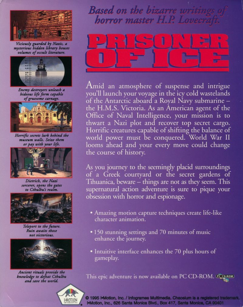 Prisoner of Ice DOS Back Cover
