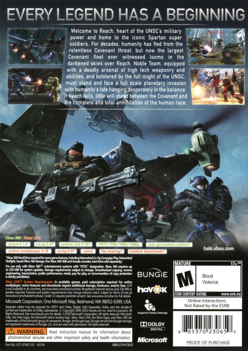 halo reach 2010 xbox 360 box cover art mobygames rh mobygames com halo reach manual pdf Halo Master Chief