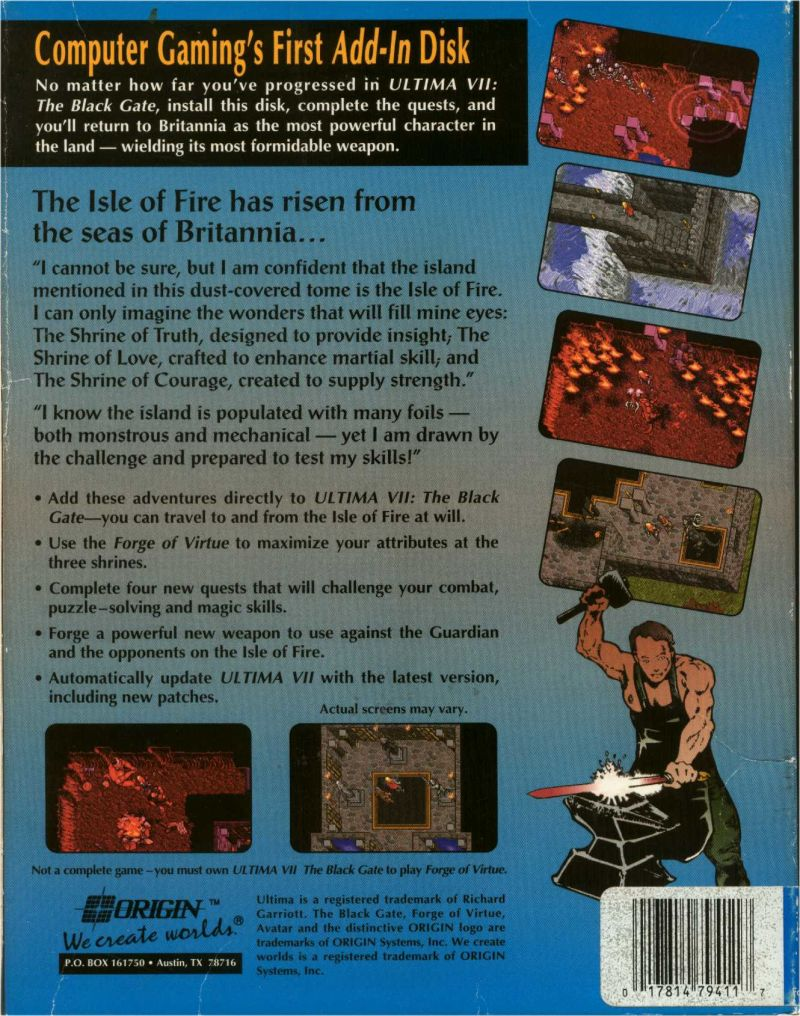 Ultima VII: Forge of Virtue DOS Back Cover