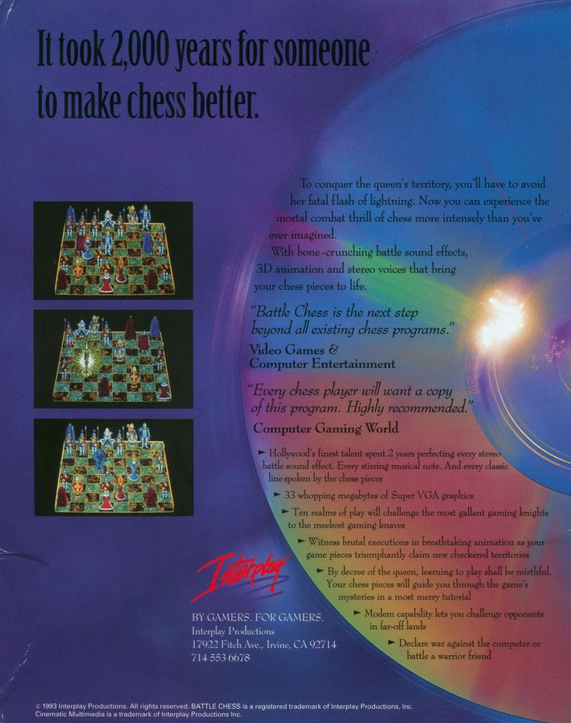 Battle Chess: Enhanced CD ROM DOS Back Cover