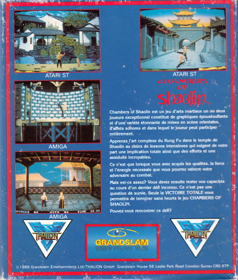 Chambers of Shaolin Atari ST Back Cover