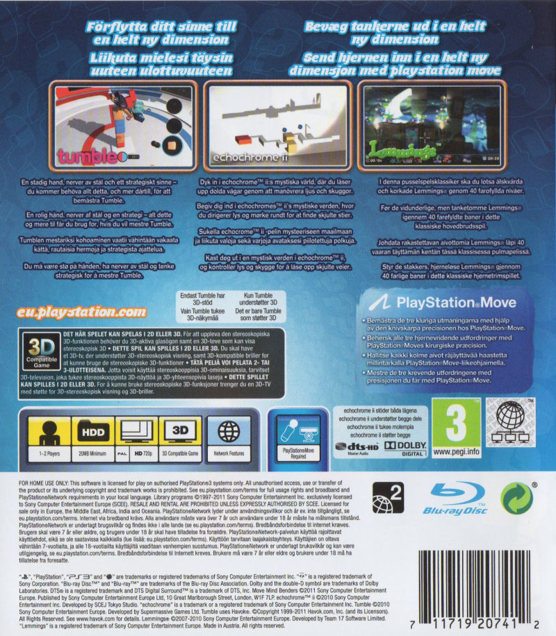 Move Mind Benders 2011 Playstation 3 Box Cover Art Mobygames