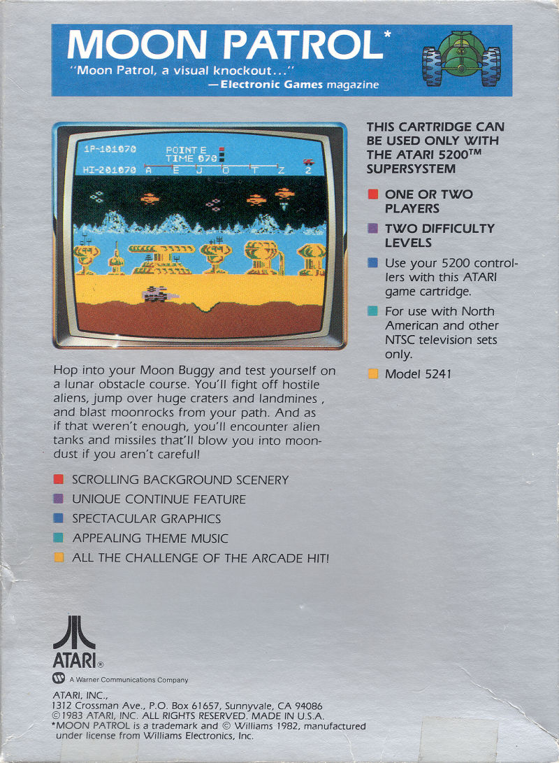 Moon Patrol Atari 5200 Back Cover