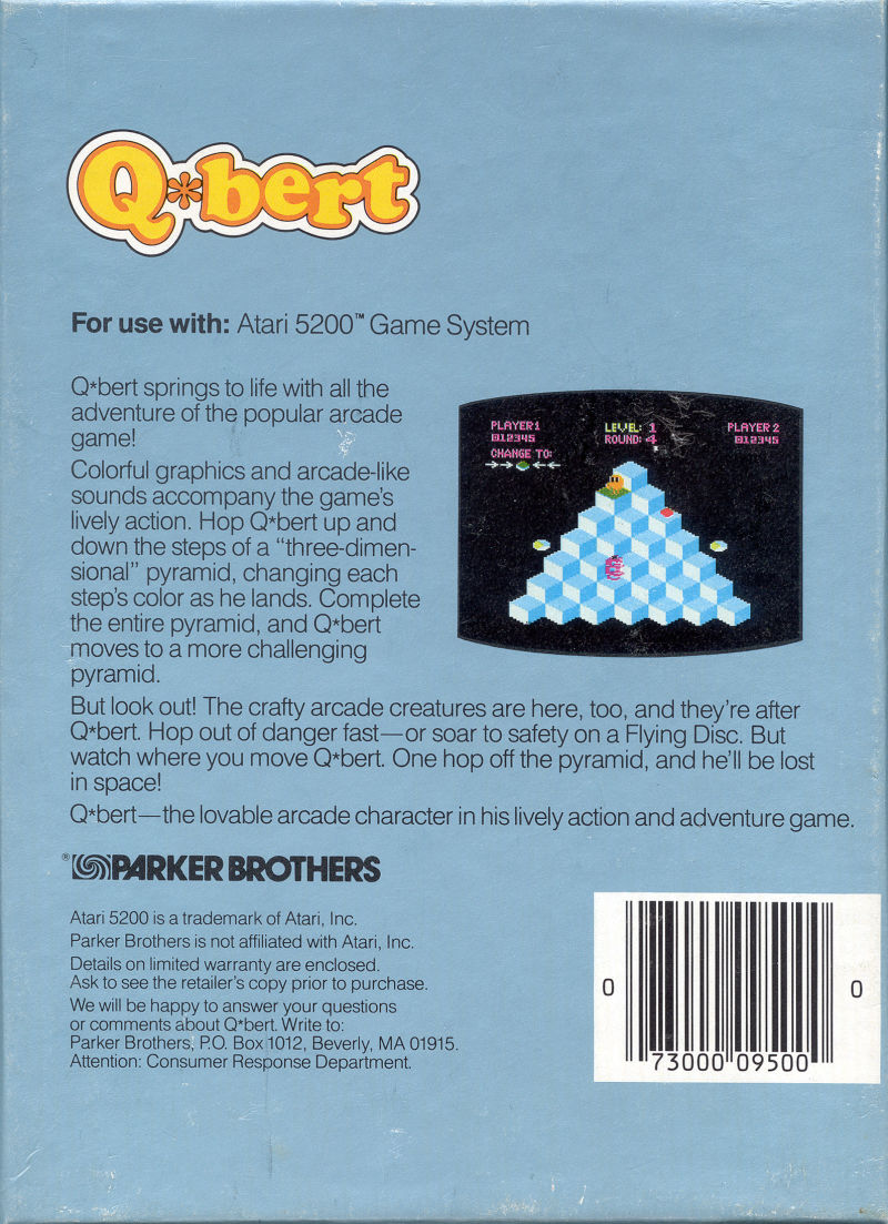 Q*bert Atari 5200 Back Cover