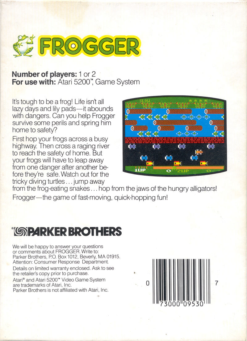 Frogger Atari 5200 Back Cover
