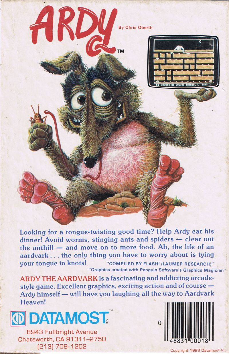 Ardy the Aardvark Commodore 64 Back Cover