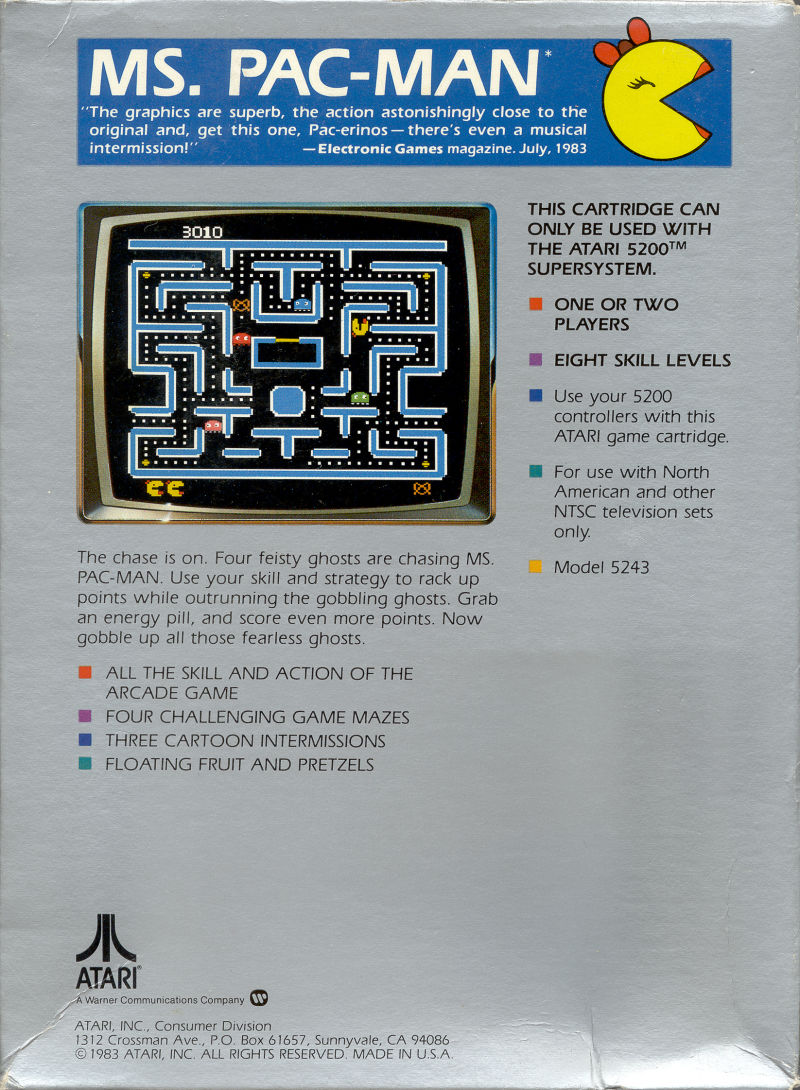 Ms. Pac-Man Atari 5200 Back Cover