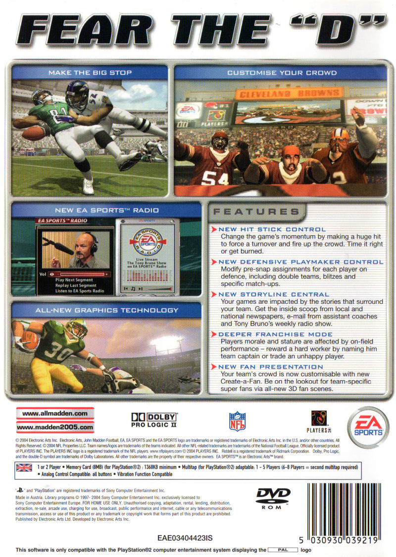 Madden NFL 2005 PlayStation 2 Back Cover