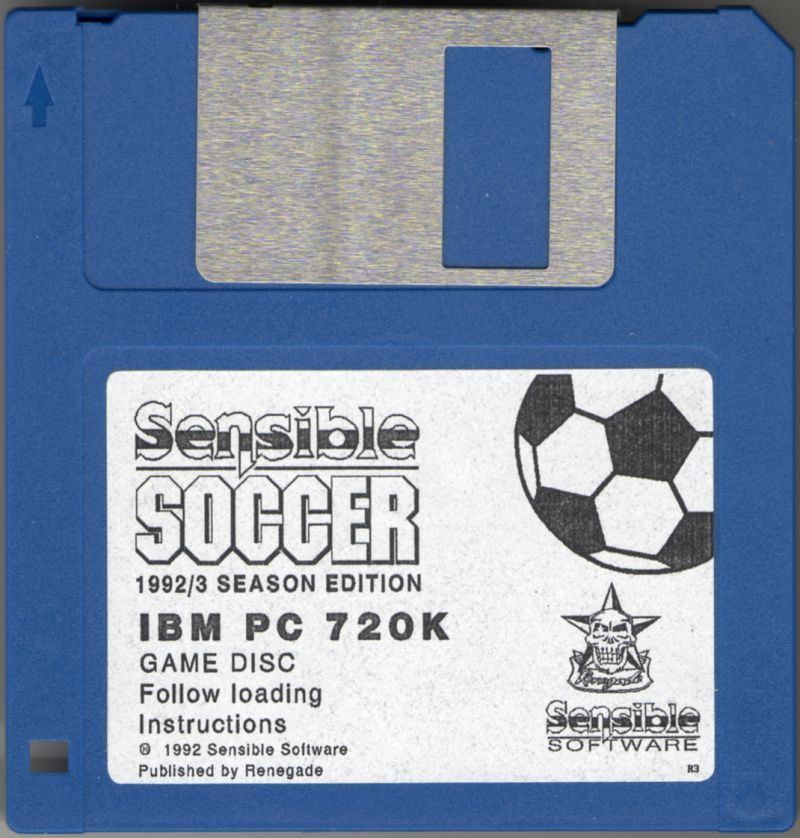 "Sensible Soccer: European Champions - 92/93 Edition DOS Media ""R3"" (Revision 3) sign on the bottom right corner of the disk"