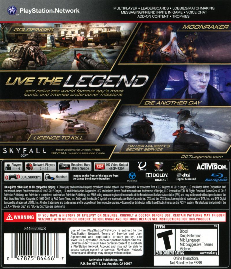 New 007 Game For Ps3 : Legends playstation box cover art mobygames
