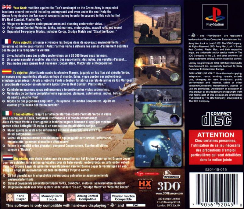 Army Men: World War - Final Front PlayStation Back Cover