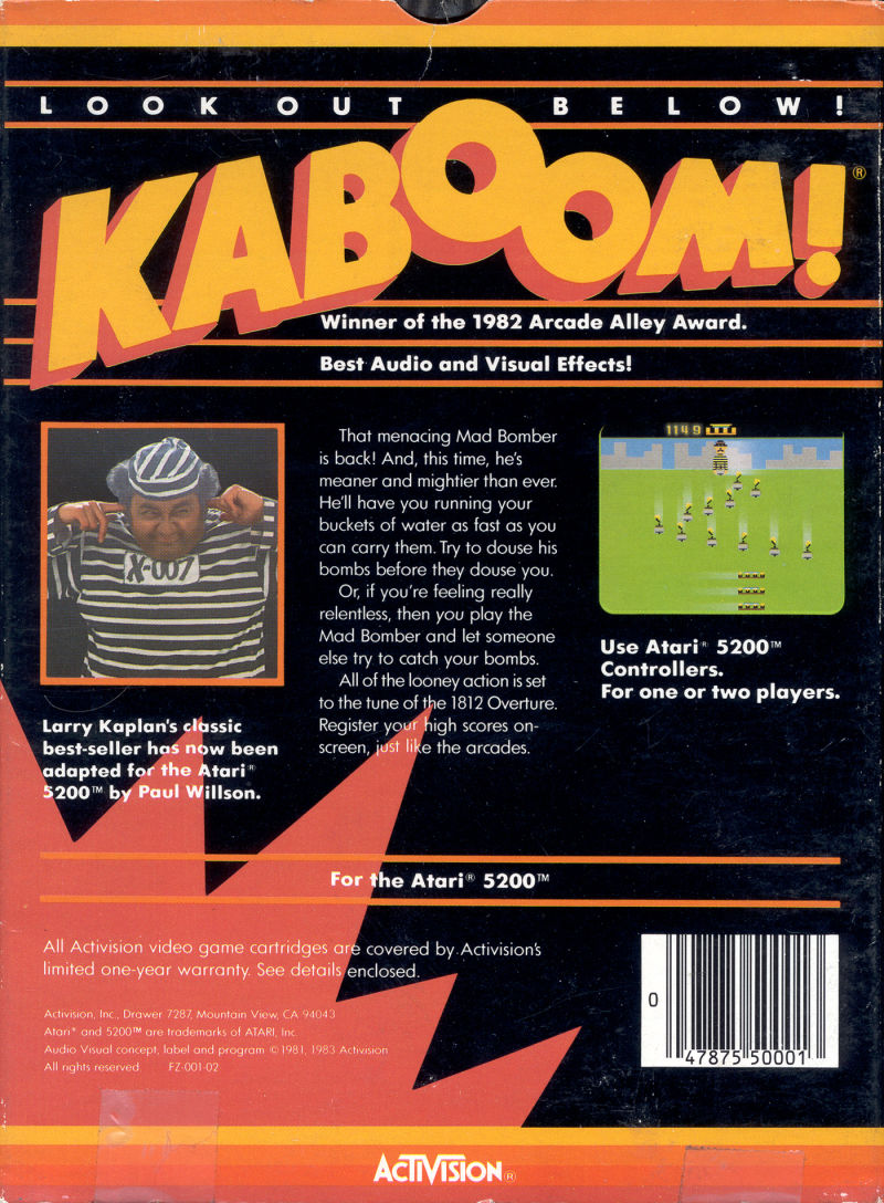 Kaboom! Atari 5200 Back Cover