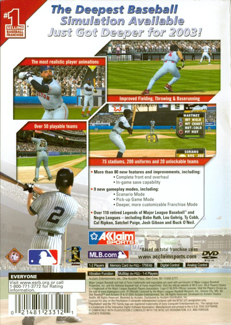 All-Star Baseball 2004 PlayStation 2 Back Cover
