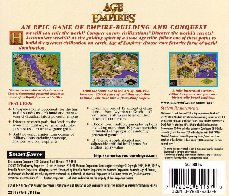 Age of Empires Windows Back Cover