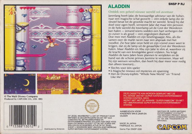 Disney's Aladdin SNES Back Cover
