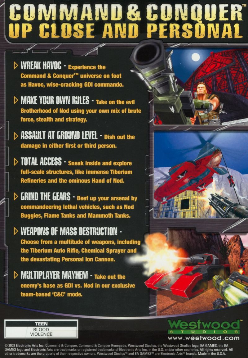 Command & Conquer: Renegade Windows Back Cover