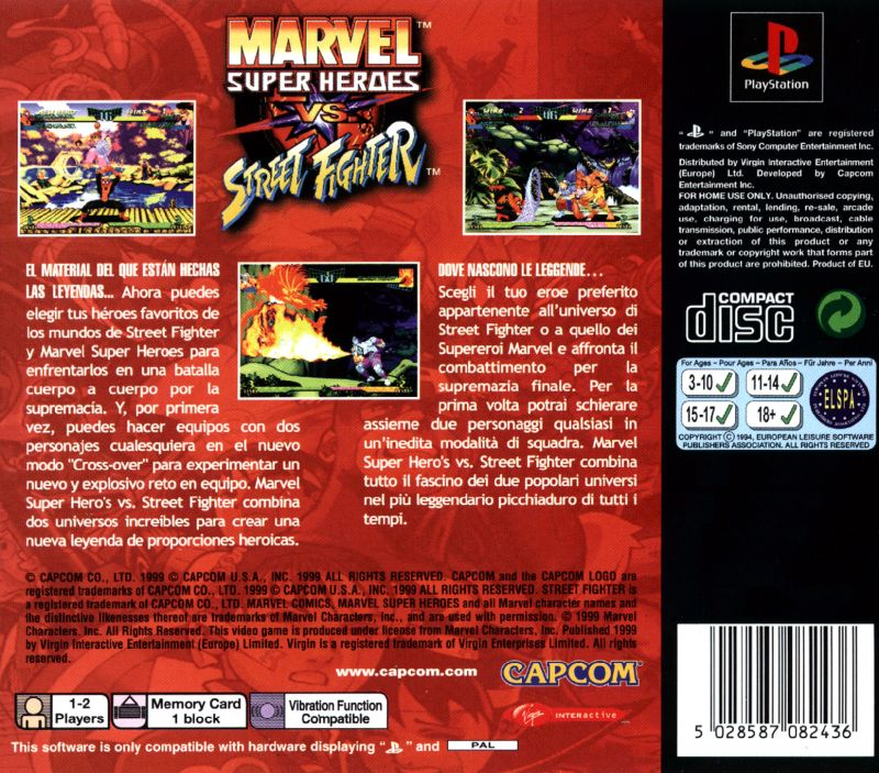 Marvel Super Heroes vs. Street Fighter (1999) PlayStation ...