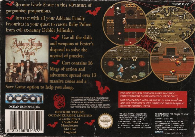 Addams Family Values SNES Back Cover