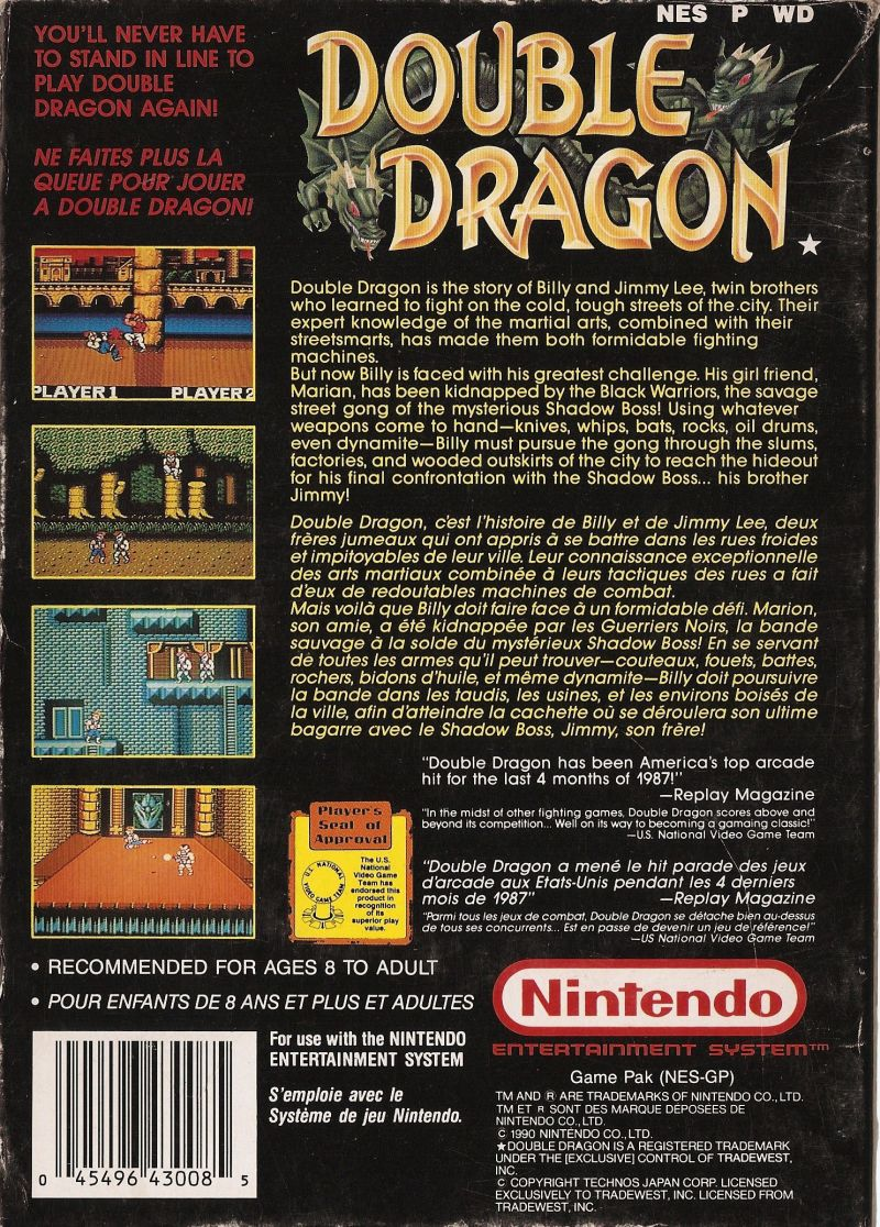Double Dragon 1988 Nes Box Cover Art Mobygames