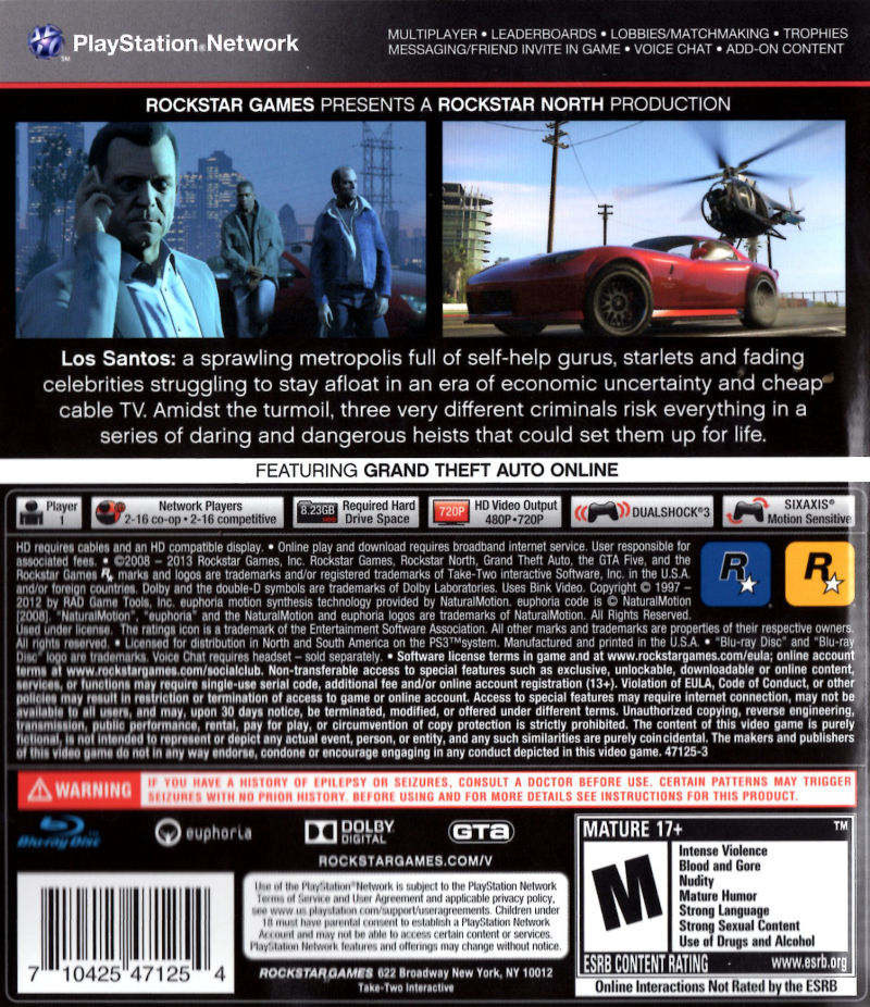 Grand Theft Auto V PlayStation 3 Back Cover