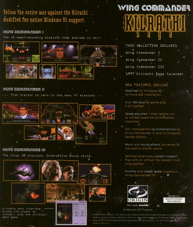 Wing Commander: The Kilrathi Saga Windows Back Cover