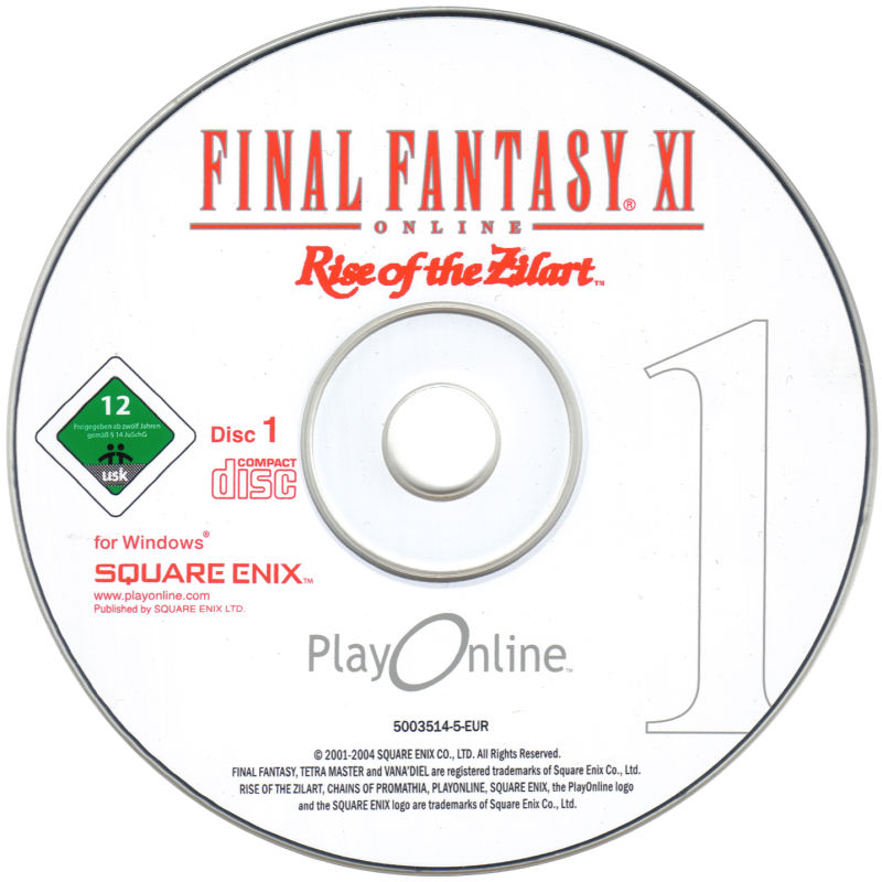 Final Fantasy XI Online: The Vana'Diel Collection Windows Media Rise of the Zilart Disc