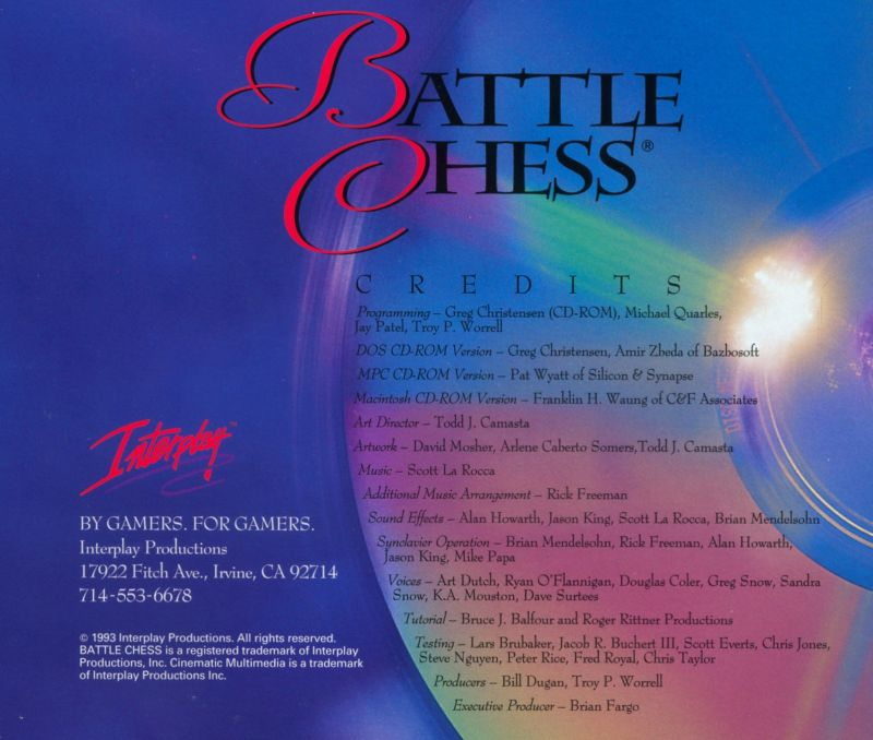 Battle Chess: Enhanced CD ROM DOS Other Jewel Case - Back