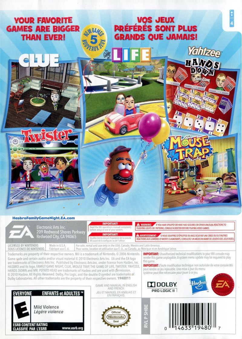 Hasbro Family Game Night 3 2010 PlayStation Box Cover Art 283717 Wii Back GameCoverId283717