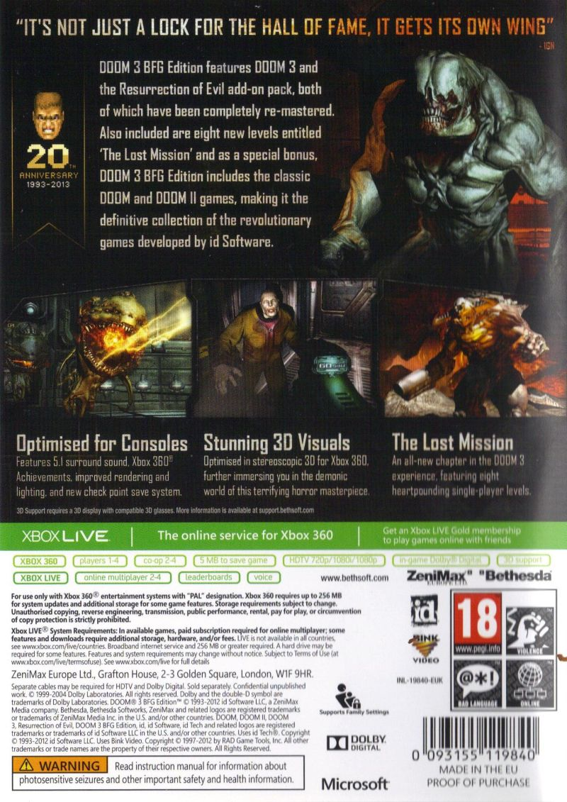DOOM³: BFG Edition Xbox 360 Back Cover