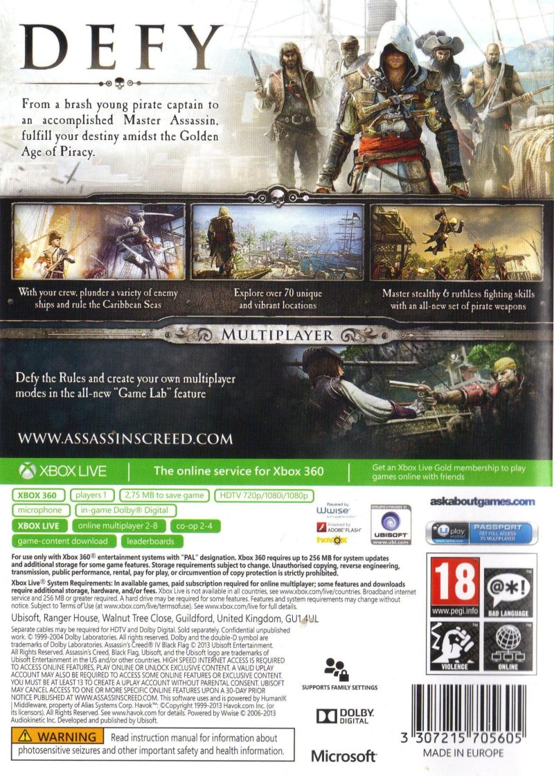 Xbox 360 Game Cover Back Assassin's Creed IV: B...