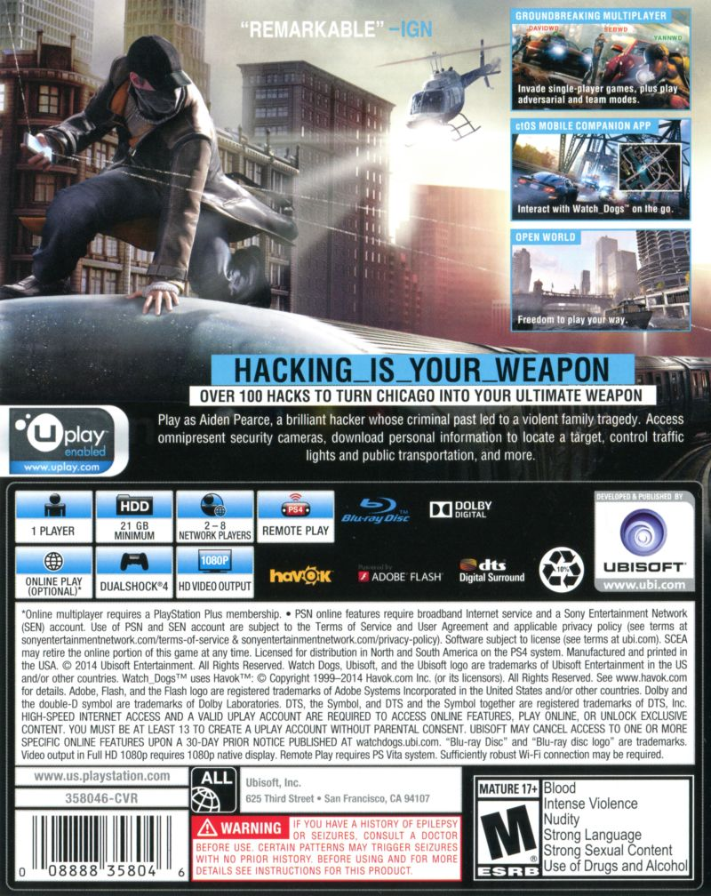 Watchdogs ps4 exclusive edition 2014 playstation 3 box cover watchdogs ps4 exclusive edition playstation 4 back cover freerunsca Images