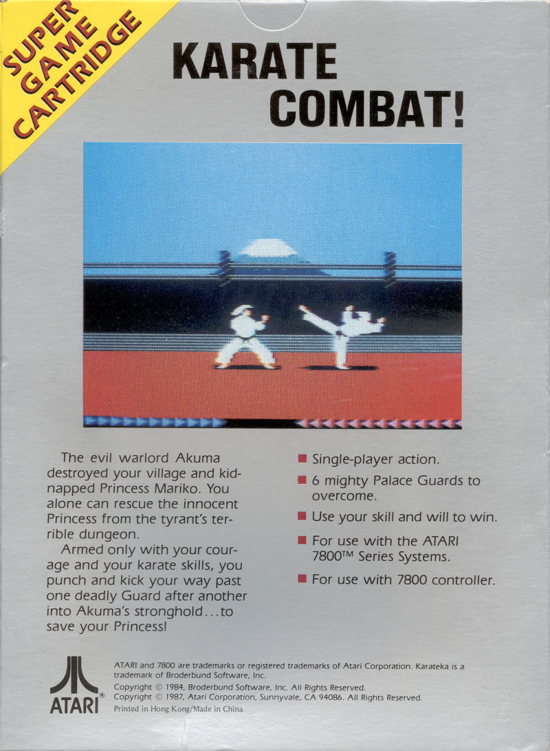 Karateka Atari 7800 Back Cover