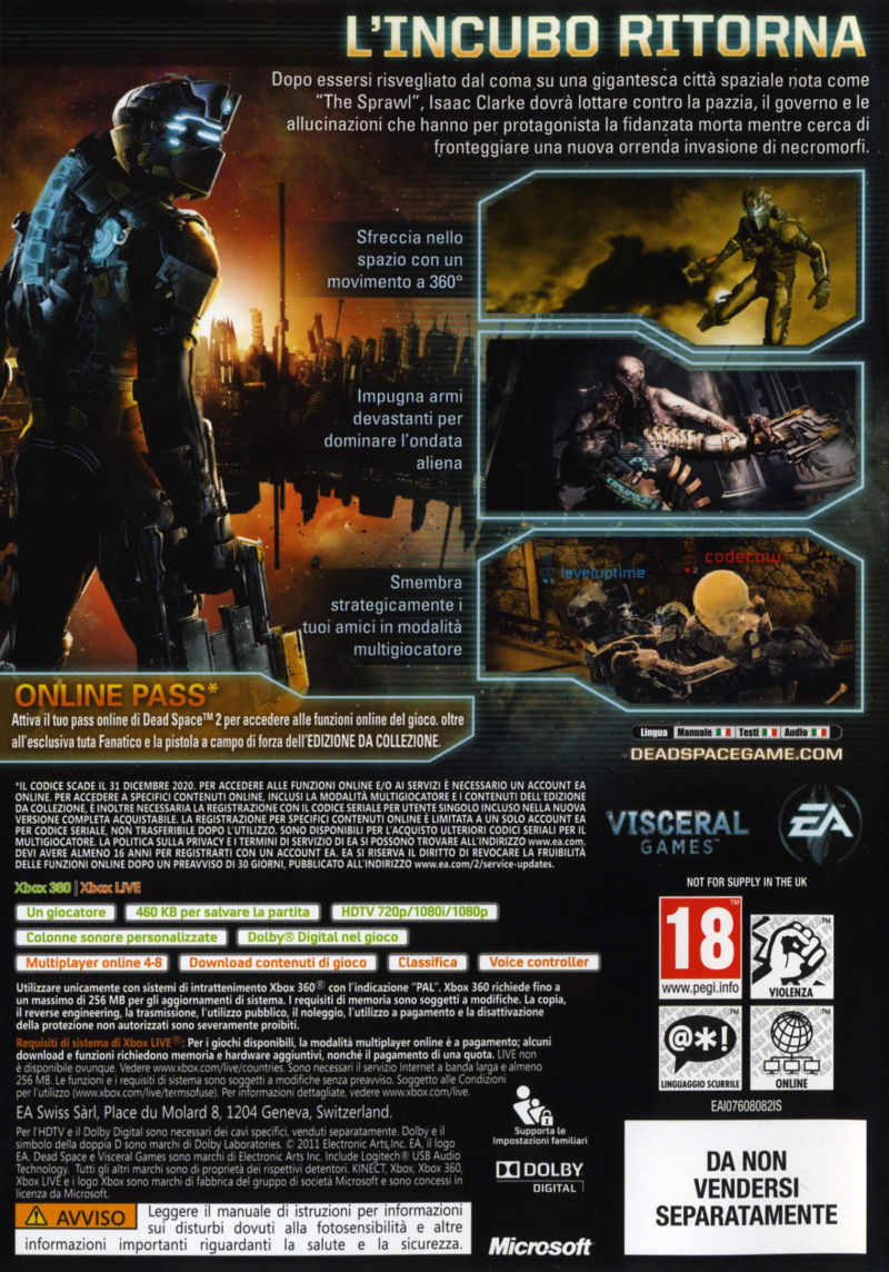 Dead Space 2 (Collector's Edition) Xbox 360 Other Keep Case - Back
